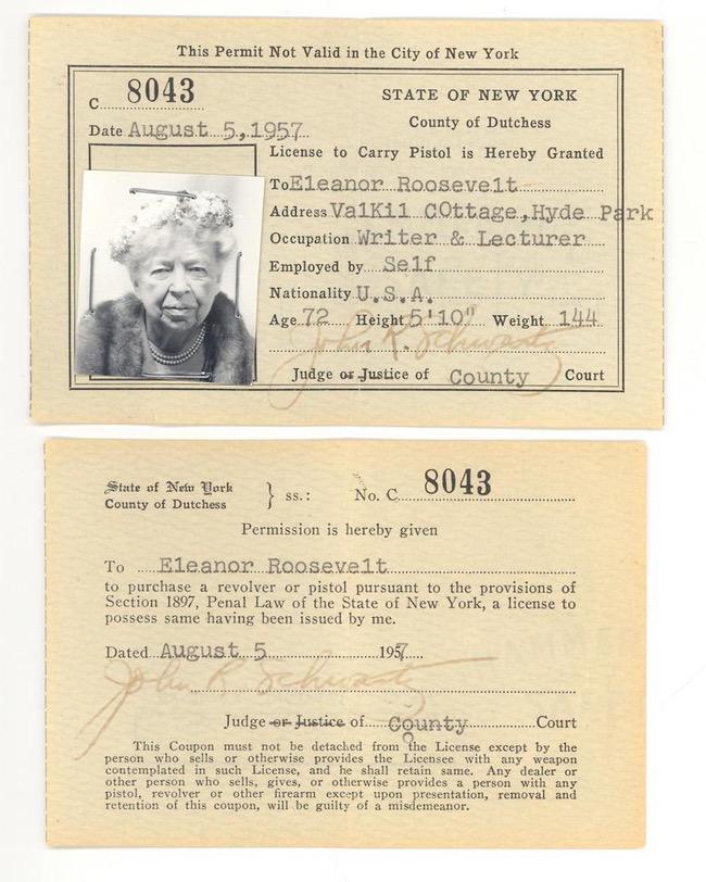 Eleanor Roosevelt pistol Permit